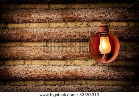 Log Cabin With Lantern