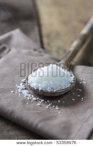 Sea Salt On Wooden Spoon