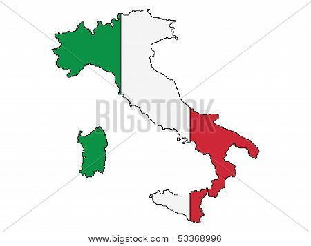 Outline Of Italy With State Flag