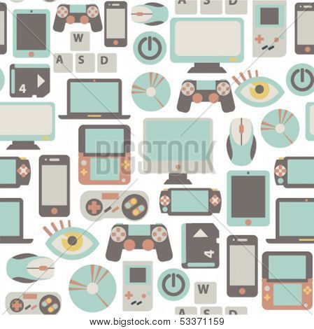 seamless pattern with game icons