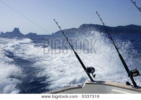 Fishing Rod And Reel  In Blue Ocean