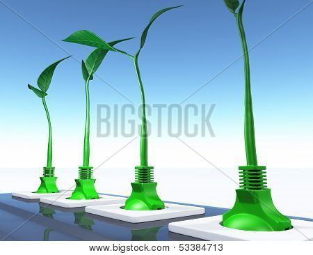 Small Plants Plugged In The Sockets