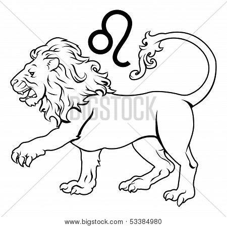 Illustration of Leo the lion zodiac horoscope astrology sign poster