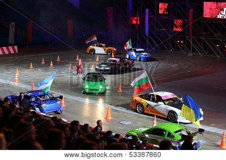 MOSCOW - MAR 02: Countries introduction on festival extreme sports Breakthrough 2013 in Sports Complex, Mar 02, 2013, Moscow, Russia. It is an exciting show of best drivers from all around the world.