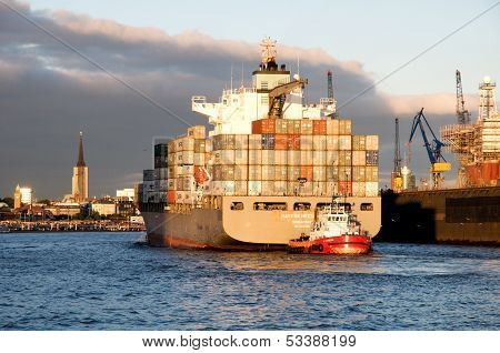 Containership in sunset