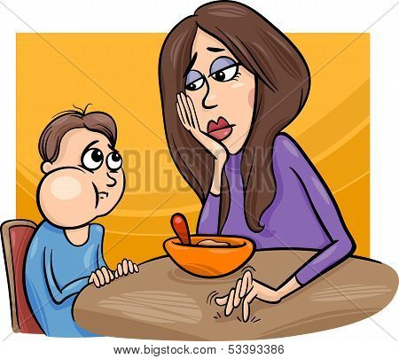 Poor Eater Boy With Mum Cartoon