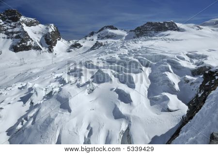 Glacier At Saas Fee In Switzerland