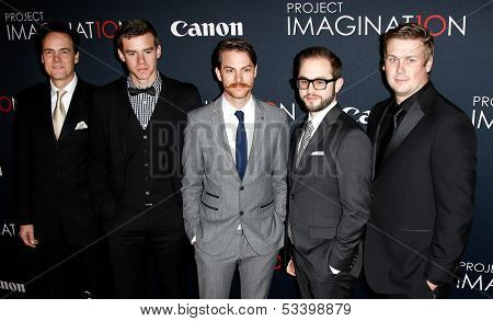 NEW YORK- OCT 24: (L-R) Kalman Apple,Jared Nelson,Ronnie Allman,Julian Higgins, Arrius Sorbonne at Canon's 'Project Imaginat10n' Film Festival at Alice Tully Hall on October 24, 2013 in New York City.