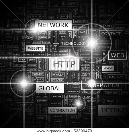HTTP. Background concept wordcloud illustration. Print concept word cloud. Graphic collage. Vector illustration.