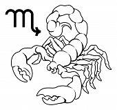 Illustration of Scorpio the scorpion zodiac horoscope astrology sign poster