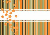 A colorful background template with flowers in de colors orange green and brown poster