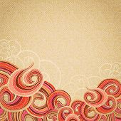 Vector abstract background with red brown curly pattern at bottom. Hand drawn curls on beige vintage cardboard texture. Template with space for your text. poster