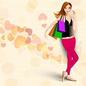 Young fashionable girl with shoping bags on hearts decorated background. poster