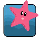 cute cartoon star fish. poster