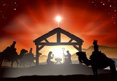 Nativity Christmas scene with baby Jesus in the manger in silhouette three wise men or kings and star of Bethlehem poster