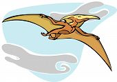 Pterodactyl dinosaur flying overhead in the Clouds. poster