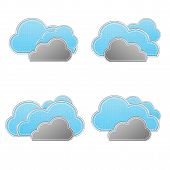 Set of weather forecast icon in fabric style . poster