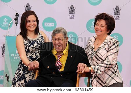 LOS ANGELES - APR 12:  Danielle Sarah Lewis, Jerry Lewis, SanDee Pitnick at the Jerry Lewis Hand and Footprint Ceremony at TCL Chinese Theater on April 12, 2014 in Los Angeles, CA