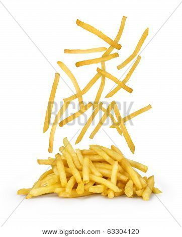 French fries - flying fried potatoes, fastfood