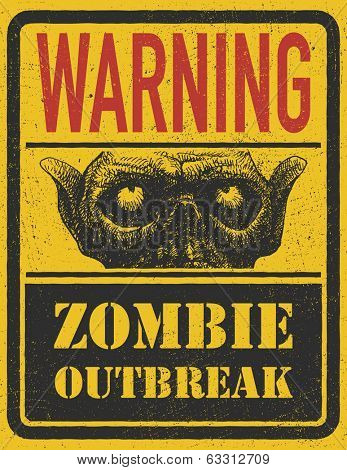 Poster Zombie Outbreak.  Vector illustration. Eps 8