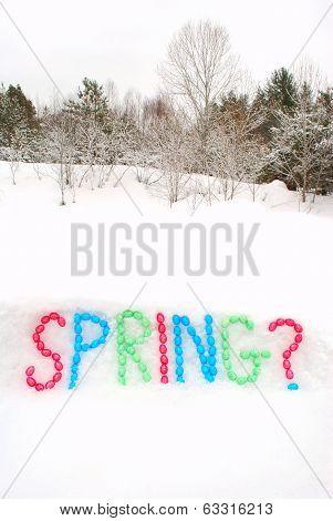 Spring Word Spelled In Snow
