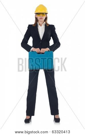 Builder woman with holdall isolated on white