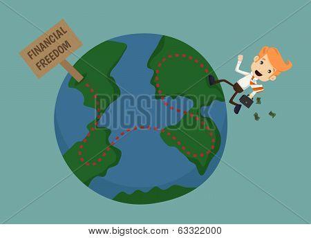Businessman Go To Financial Freedom
