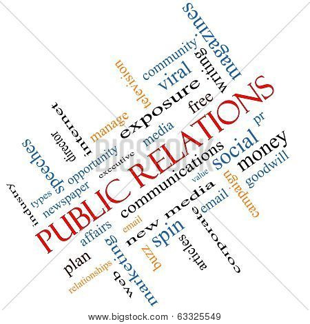 Public Relations Word Cloud Concept Angled