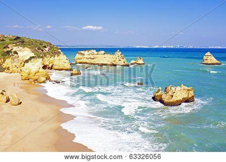 Rocky southcoast near Lagos Algarve Portugal