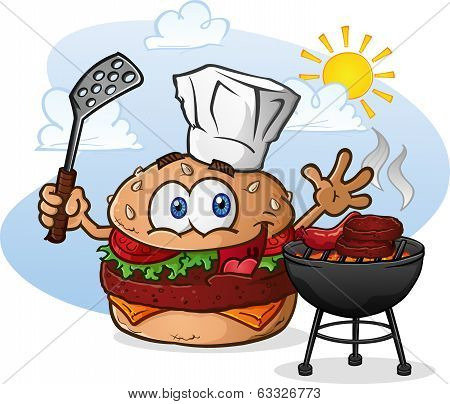 Cheeseburger Cartoon Chef Grilling