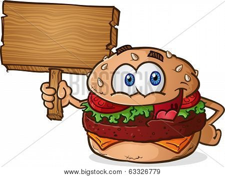 Hamburger Cartoon Wooden Sign