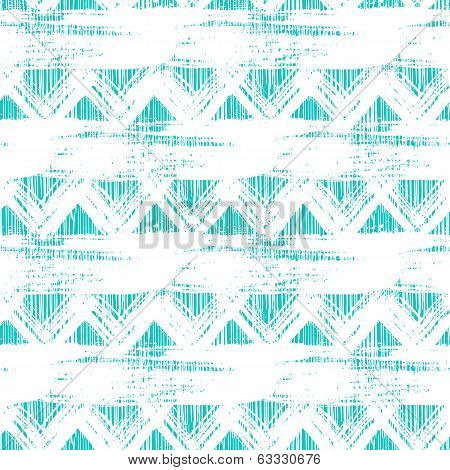 poster of Vector seamless ethnic zigzag pattern with bold brushstrokes and stripes in bright aqua blue color can be used for print, wallpaper, spring summer fashion and home decor