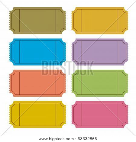 Colorful Retro Vector Ticket Set Illustration