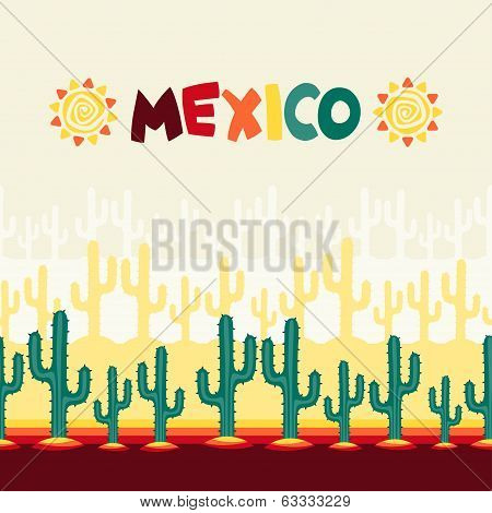 Mexican seamless pattern with cactus in native style. poster