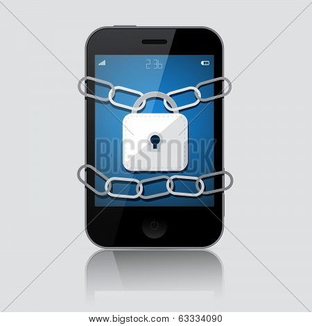 Locked Smartphone Vector Illustration Isolated on Grey Background