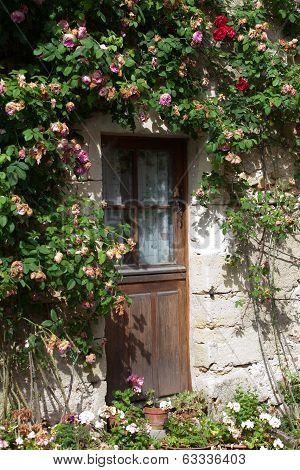 cottage with roses around door.