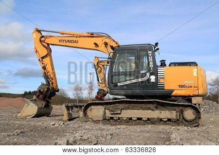 Hyundai Robex Crawler Excavator At Construction Site