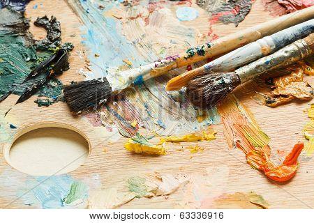 Few Paintbrushes On Oils Artistic Pallette