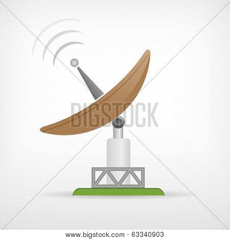 Isolated Satellite Communication Parabolic Antenna Icon