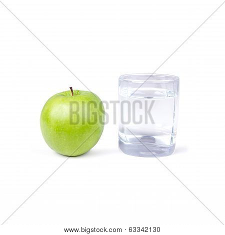 Glass Of Water And One Green Apple