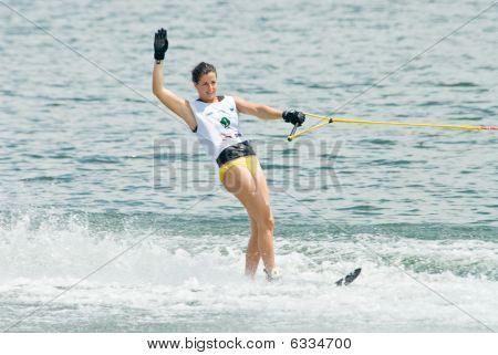 Women Slalom Waterski In Action