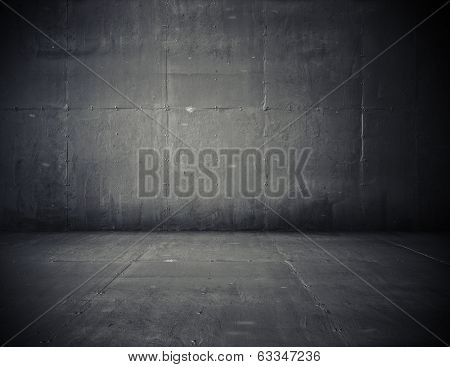 empty room with concrete wall, grey background