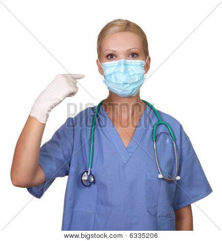 Image Of Young Female Nurse Wearing Face Mask