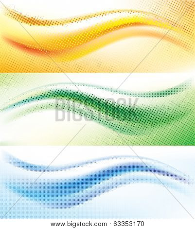 Set of vector background with abstract halftone wave