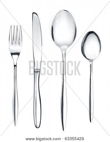 Silverware or flatware set of fork, spoons and knife. Isolated on white background