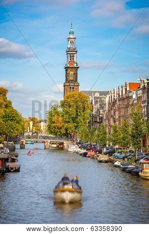 Western church and Prinsengracht canal in Amsterdam