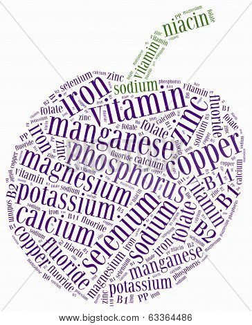 Word cloud related to nutrients included in fruits and vegetables. Healthy eating or diet concept. poster
