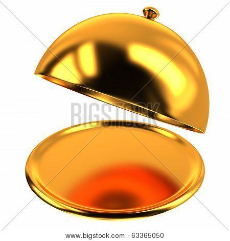 Golden restaurant cloche, 3d