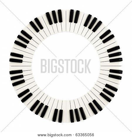 Piano keys circle, 3d