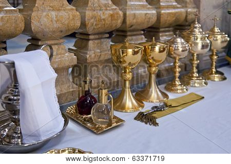 Mafra, Portugal - September 02, 2013: Rite objects prepared for a Catholic Mass in the Basilica of the Mafra National Palace
